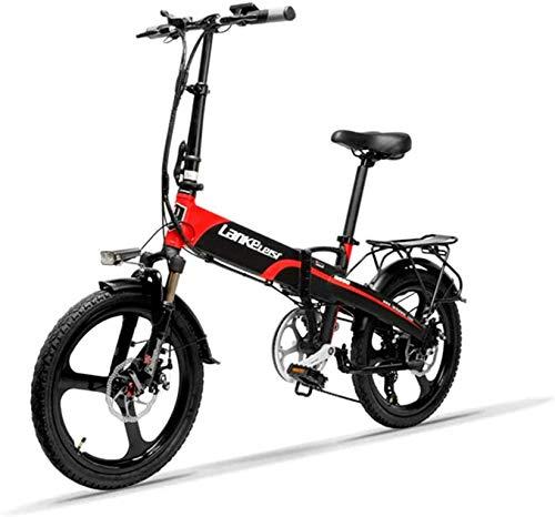 Bicicletta elettrica pieghevole Lankeleisi G660-20 pollici, 48V / 240W, 12,8 Ah, batteria al litio, bici elettrica a 7 velocità, mini mountain bike a 5 velocità, adulto con dispositivo antifurto,rosso