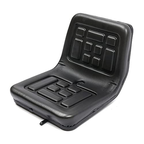 Traktorsitz Universal mit verstellbaren und Abflussloch Führungen Minibagger Aufsitzmäher Gabelstapler Staplersitz 36 x 35 x 30 cm,aus PU, Schwarz