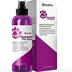 Natural Pet Spray for Dogs and Cats with Lavender & Evening Primrose - Eliminates Odor 8 Oz Bottle