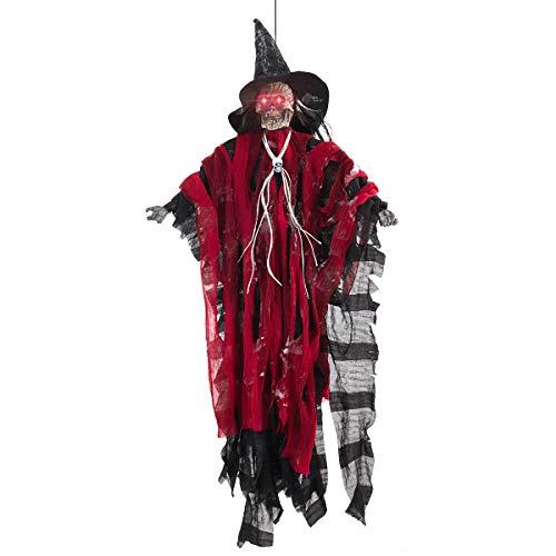 Welltop animierter Skelettgeist als Halloween Dekoration mit glühenden roten Augen 30x70cm