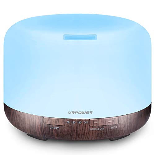 URPOWER 500ml Essential Oil Diffuser 5 in 1 Ultrasonic Aromatherapy Diffusers for Essential Oils Humidifier with Adjustable Mist Mode/4 Timer Settings and Waterless Auto Shut-Off for Large Room Yoga