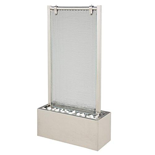 Köhko® Wasserwand ca. 93 cm aus Edelstahl mit Glas Wasserspiel mit LED-Beleuchtung für Wohnzimmer Terrasse