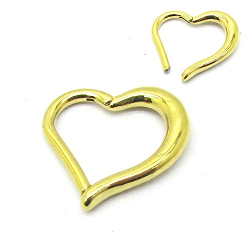 NewkeepsR 316L 16ga Acero quirúrgico Oro Corazón Bisagra Clikcer Daith Helix Rook Piercing Ring