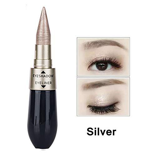 1pc Double-end étanche liquide Eyeliner 2 Dans Eyeshadow 1 Facile à porter yeux Maquillage Glitter fard à paupières pigmentées Eyeliner Long Lasting Cosmetic (Argent + Noir)