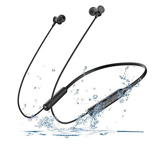 Kabellose Sport-Kopfhörer, Geräuschunterdrückung, Headset für Workout, Laufen, Fitnessstudio, schweißresistent, Schwarz