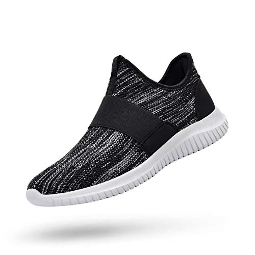 QANSI Mens Slip on Sneakers Lightweight Comfortable Athletic Sports Running Shoes Cycling Gym Tennis Shoes Gray/Black 7.5