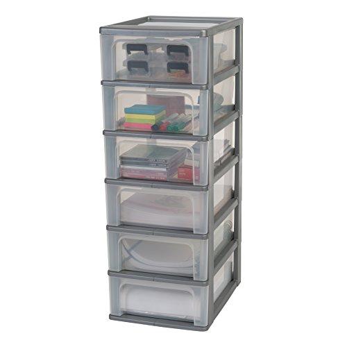 Iris Organizer Chest OCH-2006 Schubladencontainer-/ schrank, Kunststoff, silber / transparent, 35,5 x 26 x 72,5 cm