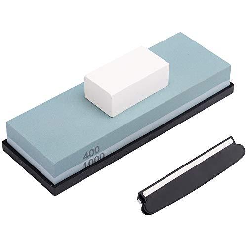 Angerstone Premium Knife Sharpening Stone Kit–400/1000 Grit Whetstone Set, Professional Knife Sharpener Stone with Flattening Stone, Angle Guide and Nonslip Rubber Base