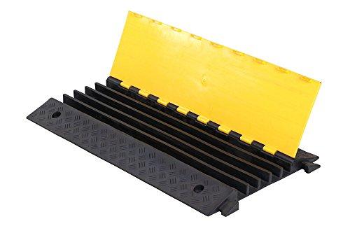 docp-001 Rouge Collection Pont Câble 2 canaux (Je 32 mm x 30 mm) et couvercle, noir/jaune, longueur : 980 mm, largeur : 240 mm, hauteur : 45 mm, material. Noir en Caoutchouc Recyclé Jaune Solide avec couvercle en polyéthylène