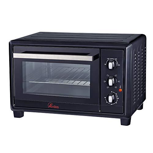 Ardes AR6220B Forno Elettrico Ventilato Gustavo Black 20 Litri 6 Funzioni Cottura Doppio Vetro con Accessori Nero, 1380 W