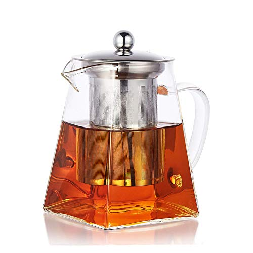 PluieSoleil Square Glass Teapot with Infuser, 700 ml Borosilicate Tea Pot for Loose Tea, Clear Leaf Teapot with Strainer for Microwavable and Stovetop Safe