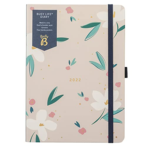 Busy B Busy Life Diary January to December 2022 – A5 Floral Week to View Planner with Dual Schedules, Pen Holder and Pockets
