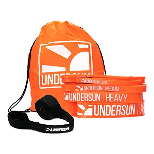 Undersun The 5-Band Complete Exercise Band Set Includes 5 Different Levels of Resistance Bands from X-Light, Light, Medium, Heavy, X-Heavy and Door Anchor. Great Value Fitness Bands