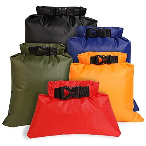Freenfitmall Juego de bolsas secas impermeables, ligeras bolsas de canoa, sacos secos impermeables para kayak, rafting, barcos, senderismo, camping, viajes, pesca, Red, 5pcs/set,
