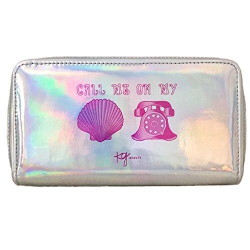"Holographic Mermaid Makeup Bag Toiletry Travel Bag Organizer""Call Me On My Shell Phone"" Cosmetic Bag Mermaid Makeup Brush Bag Organizer"