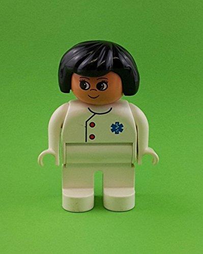1 x LEGO Duplo Figur Ärztin Frau Hose weiß Oberteil weiss 2 rote Knöpfe Haare schwarz 4555pb016 Arzt Krankenhaus Praxis 2682 2220 9170 2688 9181 9180 9179