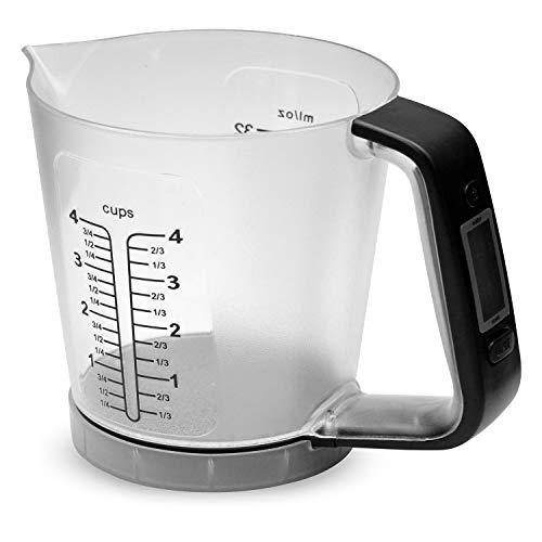 TU TENDENCIA ÚNICA Báscula digital de cocina con jarra medidora de plástico transparente. Pantalla LCD en el asa