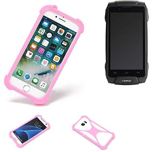 K-S-Trade Handyhülle Für Cyrus CS 30 Schutzhülle Bumper Silikon Schutz Hülle Cover Hülle Silikoncase Silikonbumper TPU Softcase Smartphone, Pink (1x)