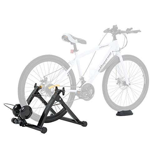 Walmann Bike Trainer Stand Portable Indoor Stationary Bicycle Exercise Magnetic Machine with Front Wheel Riser Block and 6 Variable Speed Level, Quick Release - for Road & Mountain Bikes