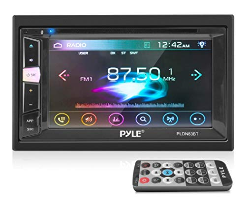 Pyle Double Din DVD Car Stereo Player Bluetooth in-Dash Car Stereo Touch Screen Receiver w/USB/SD, MP3, CD Player, AM FM Radio, Steering Wheel Feature, Hands-Free Call, Camera/Speaker Input-PLDN83BT
