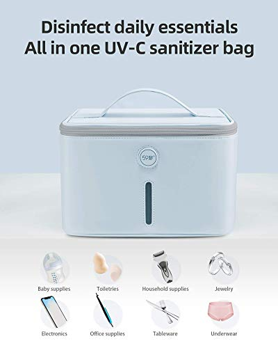 59S UV Light Sanitizer Bag with 24 UVC LEDs, Portable XL UV Phone Sanitizer Box, Extra Large UV-C Light Sterilizer Bag P55 for Cell Phones, Bottle, Masks, Kills 99.9% of Viruses, Germs, and Bacteria