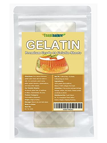 Premium Silver Leaf Gelatin Sheets, (10Sheets, 25g), 100% Natural, Gluten Free