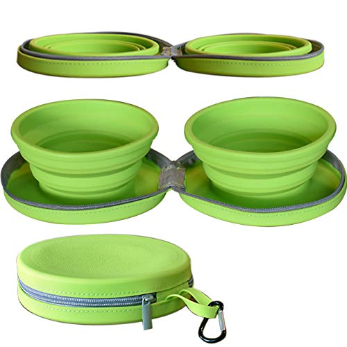 Collapsible Dog Bowls for Travel with Zipper and Mat Dishwasher Safe | Portable Dog Bowl Pet Travel | No Spill 48oz Capacity 100% BPA Free Silicone