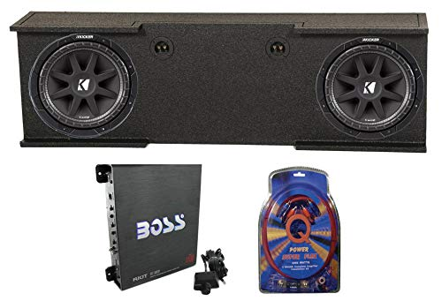 "2 Kicker 43C124 12"" 600W Subs + GMC Chevy 07-13 Crew Enclosure + Amp + Wiring"