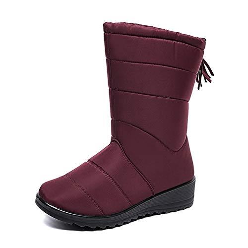 Alebaba - Botas de nieve para mujer, impermeables, cálidas de felpa, botas de tobillo para mujer, botas de invierno, color Rojo, talla 36.5 EU