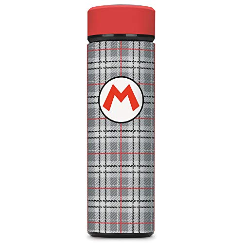 Super Mario, Mario Plaid, Vacuum Insulated Stainless Steel Sport Water Bottle, Leak Proof, Wide Mouth, 17 oz, 500 ML