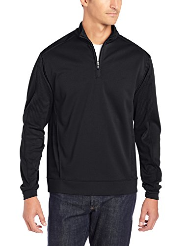 Cutter & Buck Men's CB Drytec Edge Half Zip, Solid Black, Large