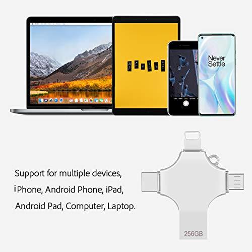 maxineer 256GB USB Stick für iPhone Android USB 3.0 Speicherstick 4-in-1 USB-Stick Externer USB-Flash-Laufwerk Externer Speicher Speichererweiterung kompatibel für iPhone, iPad, iPod, und PC
