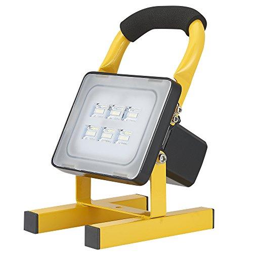 Viugreum 20W Rechargeable Lampe Chantier, 2000 Lumens Super Lumineuse Emergency Spotlight, Etanche IP65, Projecteur LED Torche Portable pour Ouvrier, Bricoleur, Tourneur et Travailleur (Jaune) (20W)