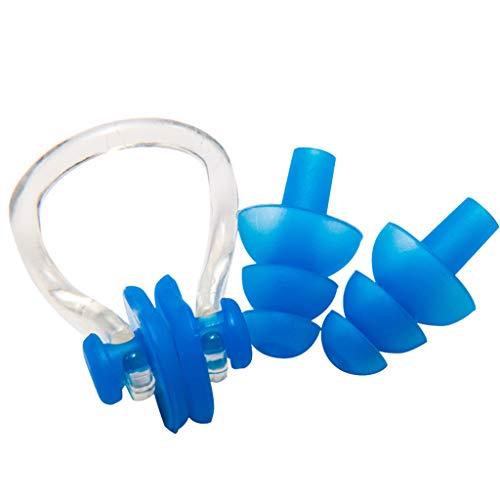 Yowablo Unisex Silikon Nasenclip Ohrstöpsel Set Kinder Erwachsene Wasser Pool Meer Schwimmen (1Einstellen,Blau)