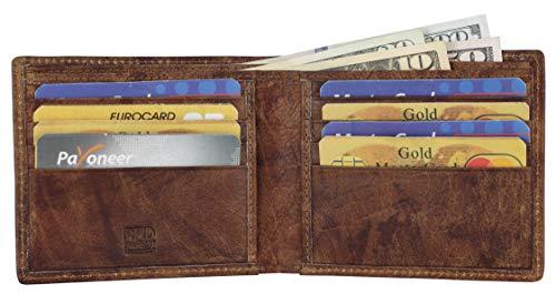 Mou Meraki RFID-blockierende Leder-Geldbörse für Herren, mit Sichtfenster und Kreditkartenfächern, in Geschenkbox,rustic brown,One_Size