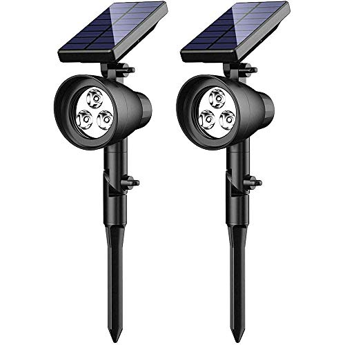 Luz Solar Exterior Jardín, Ubitree 3 LED Focos solares para paisaje Lámparas...