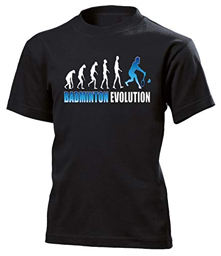 Badminton Evolution Sport 523 Shirt Tshirt Fanartikel Fanshirt Kids Jungen Mädchen Unisex Sportbekleidung Kinder T-Shirts Schwarz 152