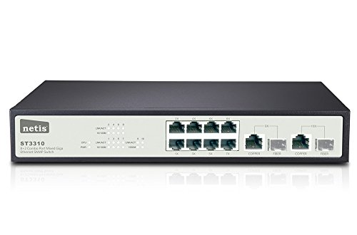 Netis 8FE+2 Combo-Port Gigabit Ethernet SNMP Switch, 5.6 Gbps Switching Fabric Capacity (ST3310)