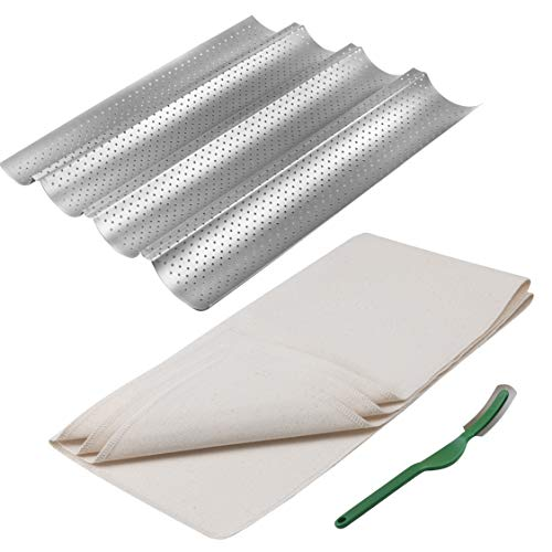 3 Piece Set - Baguette Pan - Bakers Couche - Bread Lame - 4 Wave Nonstick 15' x 13' French Baguette Bread Pan Toast Pan - 100% Cotton Fabric Bread Cloth Wave - Great for Sourdough French Bread Pan