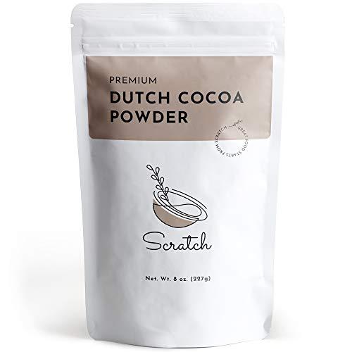 Scratch Premium Dutch Cocoa Powder - Gourmet Baking Ingredients - Rich Creamy Chocolate Flavor - Natural Smooth Low-Fat Mix - Contains Calcium, Iron, Potassium, & Dietary Fiber (8 oz)