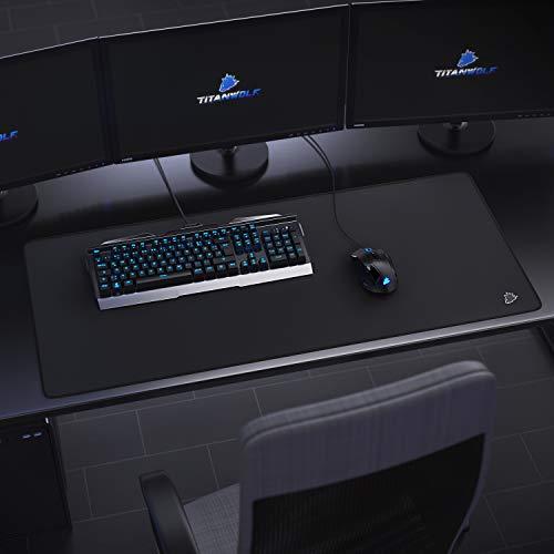 CSL - XXL Speed Gaming Mauspad Titanwolf Schwarz 900 x 400mm - XXL Mousepad - Tischunterlage Large Size - verbessert Präzision und Geschwindigkeit