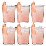 UNISHOP Set de 6 Vasos de Agua y Bebidas Alcohólicas, Vasos de Cristal Lisos y Transparentes, Aptos para Lavavajillas