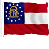 G128 Georgia State Flag 150D Quality Polyester 3x5 ft Printed Brass Grommets Flag Indoor/Outdoor - Much Thicker More Durable Than 100D 75D Polyester