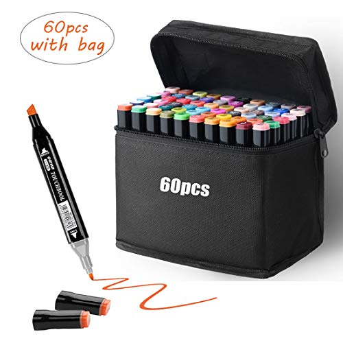 Graffiti Stifte Permanent Marker,60 Farbe Twin Marker Stifte mit Tragetasche Highlighters Manga Stifte