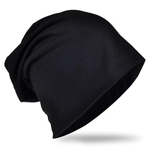 Jersey Slouch Beanie Long Mütze Unisex Unifarbe Herren Damen Standard Göße und XXL Schwarz Einheitsgröße