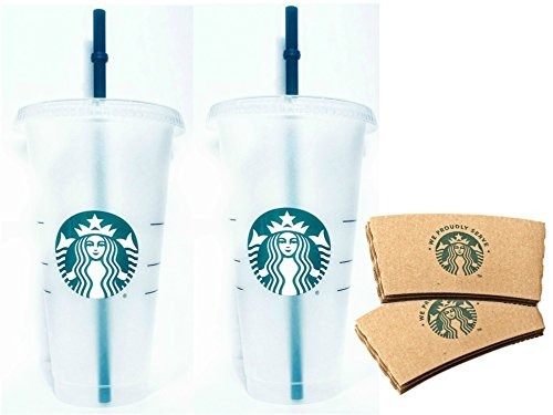 Starbucks Reusable Venti 24 fl oz Frosted Ice Cold Drink Cup Bundle Set of 2 with Sleeves