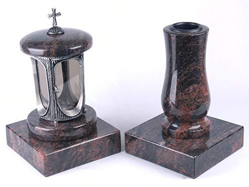 designgrab Alu Grablampe aus Aluminium in Antikoptik mit Kreuz und Grabvase Taille-medium und 2 Stück Sockel eckig in Granit Aurora/Aruba/Aurindi/Indora