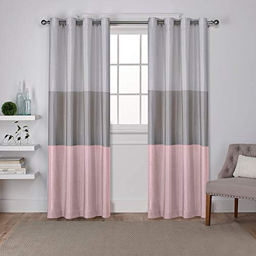 Exclusive Home Curtains Chateau Striped Faux Silk Grommet Top Curtain Panel Pair, 54x96, Blush, 2 Count