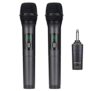 Kithouse K380A Wireless Microphone Karaoke Microphone Wireless Mic Dual With Rechargeable Bluetooth Receiver System Set - UHF Handheld Cordless Microphone For Singing Speech Church Elegant Black