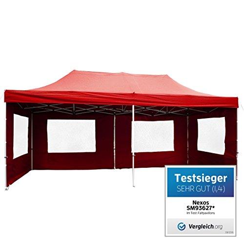 Nexos SM936271 Profi Faltpavillon Partyzelt Pavillon Seitenteilen-hochwertige Ausführung-wasserdichtes Dach mit PVC-coating-270 g/m² -Farbe: rot, 3x6 m